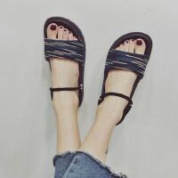 两穿厚底海边沙滩凉拖鞋罗马风外穿凉拖鞋女拼色条纹布面