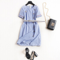 夏装圆领气质纯棉连衣裙海军风蓝条纹显瘦包臀一步裙6753 蓝色