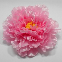 假花仿真大朵牡丹花头花朵幼儿园演出舞台舞蹈道具手拿花假花头饰绢花 20CM 粉色