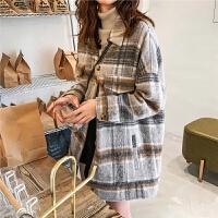 七格格毛呢大衣女中长款2019新款冬季长袖加厚韩版宽松格子外套潮