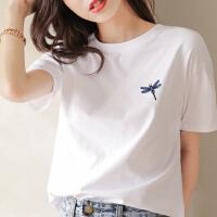 Lee Cooper 可爱蜻蜓刺绣时尚简约休闲夏季女式短袖T恤百搭纯棉女式T恤