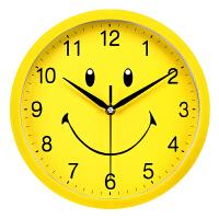 可爱卡通创意挂钟儿童房卧室简约石英钟幼儿 明黄色 笑脸 10英寸