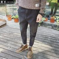 秋冬新款潮流日系复古水洗牛仔裤做旧百搭修身小脚裤子男韩版 深灰色