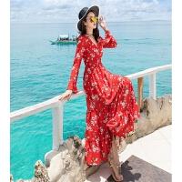 碎花海边度假沙滩裙v领长袖显瘦长裙波西米亚连衣裙秋实拍