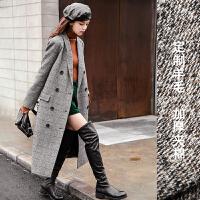 毛呢外套2017秋冬季新款中长款韩版大衣羊毛女过膝西装格子双排扣