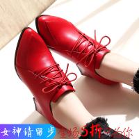 2017新款春季小皮鞋粗跟尖头系带裸鞋高跟百搭深口单鞋女红色婚鞋
