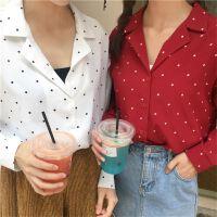 初春新款波点西装领宽松长袖衬衣百褶半身裙女纯色宽松显瘦中长裙