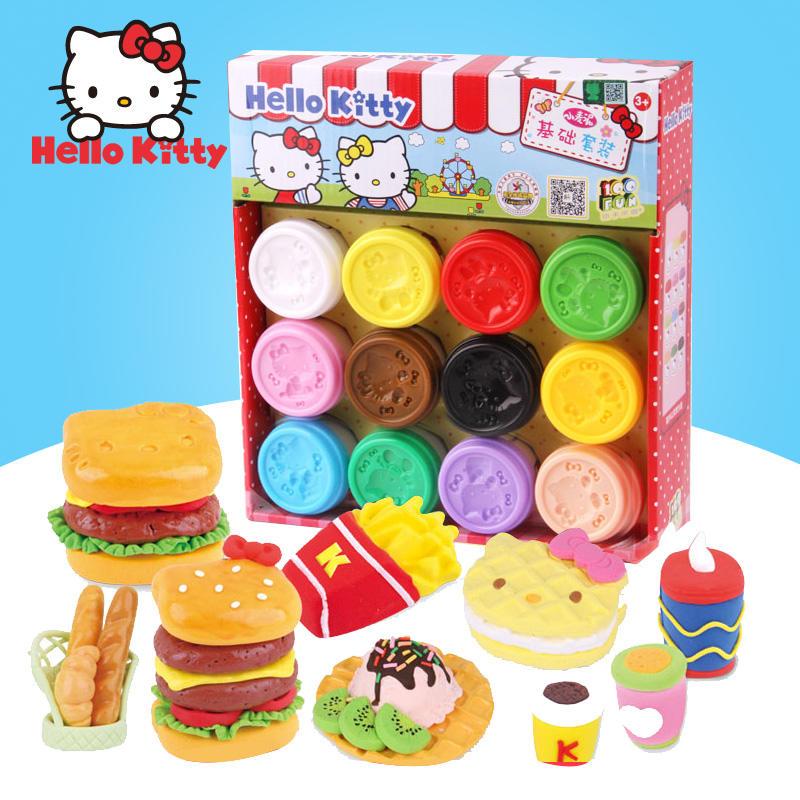 Hello Kitty凯蒂猫正品3D彩泥套装 儿童玩具 安全无毒 DIY手工 补充装 益智玩具限时钜惠