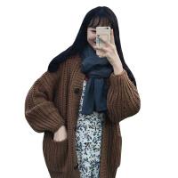秋冬韩版慵懒风加厚保暖毛衣宽松粗毛线网红针织衫开衫上衣外套女 均码