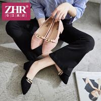 ZHR2018秋新款小清新少女鞋子浅口单鞋尖头高跟鞋粗跟chic温柔鞋