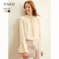 【到手价:109元】Amii极简很仙洋气职业衬衫女2019秋季新款荷叶边收褶绑带雪纺上衣