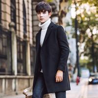 冬季新款男士风衣中长款韩版修身帅气毛呢大衣男装青年外套潮