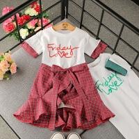 女童时尚新款套装2018夏季韩版女宝宝洋气短袖长款上衣围裙套