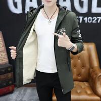 秋冬新款男士夹克潮韩版连帽外套加厚风衣冬季青年中长款外套