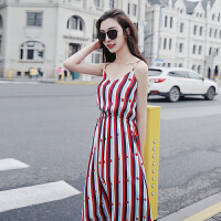 2018夏新款韩版过膝条纹连衣裙女中长款雪纺吊带长裙学生显瘦裙子 红色
