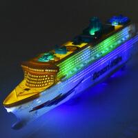 儿童电动玩具船发光发声万向音乐闪光轮船游轮快艇生男女孩礼物