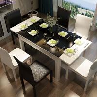 简约现代大小户型餐桌椅组合 钢化玻璃可伸缩带电磁炉多功能餐桌 黑白色