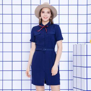 ZDORZI卓多姿夏装显瘦polo领口袋腰带衬衫连衣裙女732566