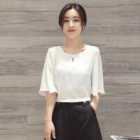雪纺上衣女超仙2018夏季新款公主喇叭袖T恤韩版宽松短袖洋气小衫
