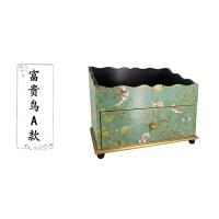 欧式田园木制化妆品收纳盒家用梳妆台抽屉式大号桌面护肤品置物架