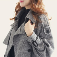 秋装女外套春秋外套风衣女中长款韩版双排扣大衣格子英伦 格子灰