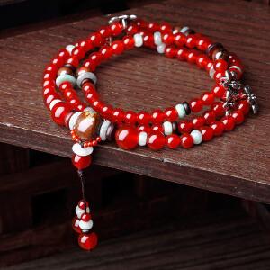 凤凰涅磐项链 女 长款  锁骨链 多层时尚水晶红玛瑙 原创中国风