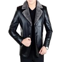 秋冬季男装真皮皮衣男士皮毛一体加绒加厚修身夹克绵羊皮外套