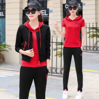 韩版卫衣三件套潮休闲运动套装女 长袖外套短袖连帽T恤长裤新款时尚修身衣服