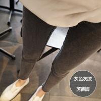 加绒牛仔裤女秋冬2018新款韩版显瘦高腰烟灰色九分紧身铅笔小脚裤 25 【1尺8】