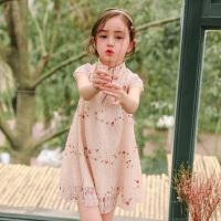 女童裙子夏装新款洋气碎花旗袍连衣裙儿童女宝宝女孩衣服夏季