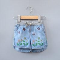 女童牛仔短裤纯棉水洗夏装新品女宝宝卡通刺绣时尚牛仔热裤
