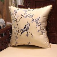 中式古典刺绣花鸟抱枕沙发靠垫仿古圈椅腰靠枕床头靠背大含芯