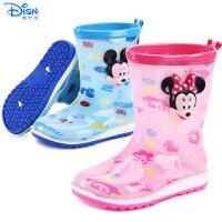 迪士尼儿童雨鞋男女童米奇汽车中筒防滑胶鞋幼儿小孩雨靴宝宝水鞋