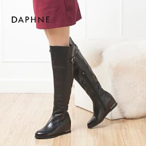 达芙妮冬季新款内赠高侧拉链过膝盖长筒靴