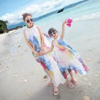 亲子装2018夏季新款母女沙滩长裙海边度假白色雪纺连衣裙