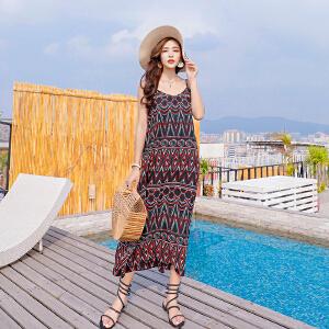 【每满100减50元】度假沙滩裙波西米亚长裙2018夏季新款民族风连衣裙吊带裙海边裙