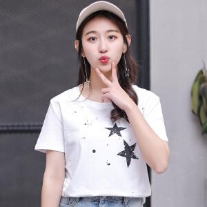 2018新款时尚简约短袖简约五角星图案印花T恤衫女