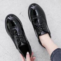 ins小皮鞋女时尚复古英伦风新款韩版百搭学生平底黑色布洛克单鞋