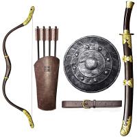 儿童塑料玩具古代男孩套装锦衣卫绣春刀剑可穿戴弓箭盾牌道具 大全套