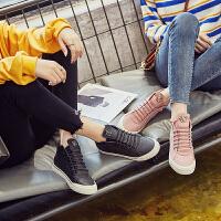 休闲鞋女韩版百搭2018春季新款平底鞋子黑色高帮鞋运动板鞋冬原宿