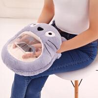 七夕礼物创意手机可视毛绒玩具暖手宝龙猫公仔可爱午睡抱枕 玩偶靠垫靠枕生日礼物 可装热水袋