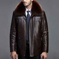 男装冬装真皮皮衣男式中长款绵羊皮男皮草狐狸毛领貂内胆加厚外套
