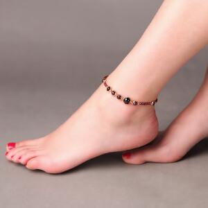 凤凰涅磐脚链女天然石榴石水晶镀真金创意时尚手工饰品中国风礼物