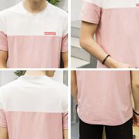 2017夏季新款男士短袖T恤 青年圆领拼接半袖体恤韩版修身男装潮流大码