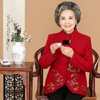 中老年女妈妈装春秋装羊毛呢唐装长袖607080岁老人奶奶装上衣外套