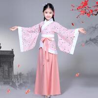 儿童古装汉服曲剧女童古筝汉唐舞蹈演出服装拍摄写真服装棉麻