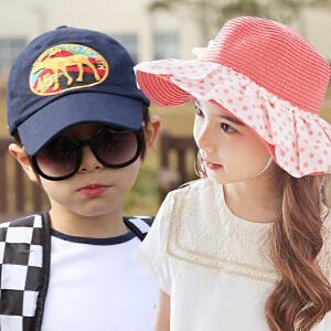 kk树新款儿童帽子男女童春夏季可爱草帽鸭舌帽遮阳帽潮