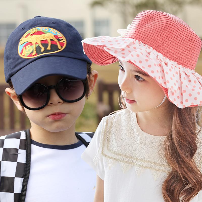 kk树新款儿童帽子男女童春夏季可爱草帽鸭舌帽遮阳帽潮潮流 遮阳