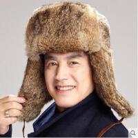 防寒平顶舒适加厚保暖护耳爸爸帽中老年男士兔毛雷锋帽皮草帽子男