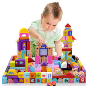 【领券立减50元】米米智玩 早教益智160块(含18块大块拼图)大块太空场景儿童积木 木制环保儿童玩具活动专属
